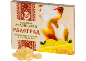 Леденцы с живицей кедра и прополисом (лимон, мед)